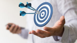 Floating target demonstrates target market as an abstract concept in business marketing.